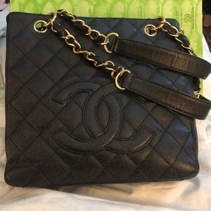 CHANEL Black Quilted Small Shopper Leather Bag
